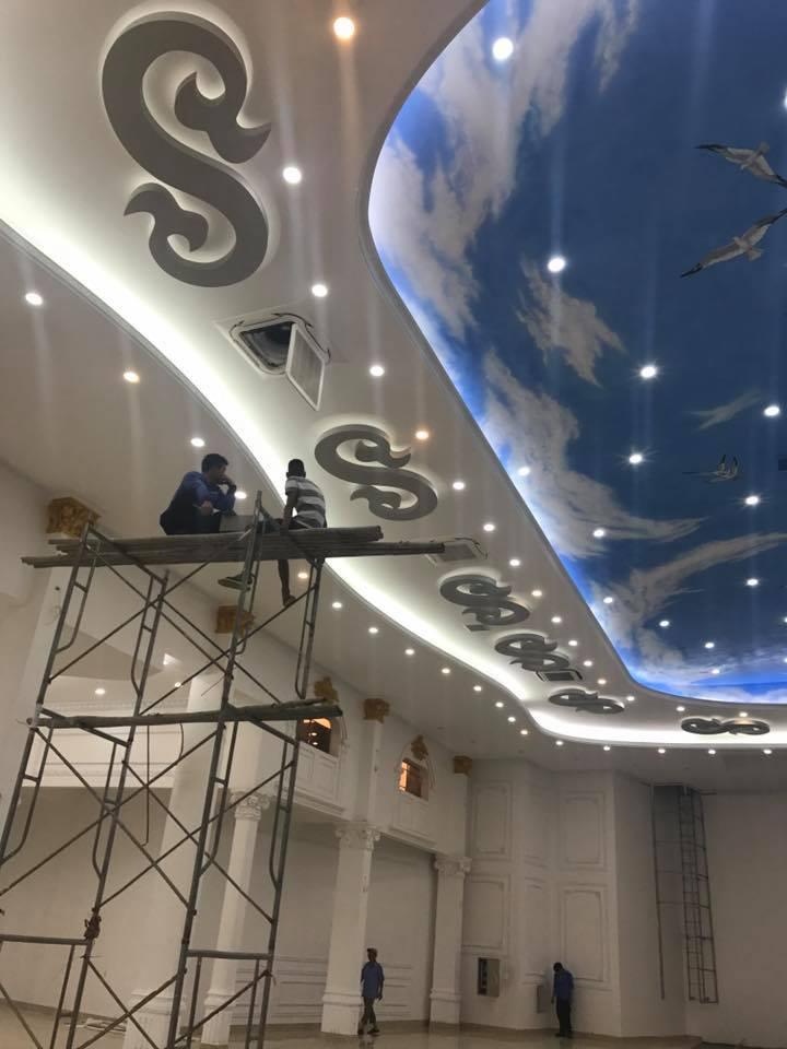 Trần thạch cao vẽ mây trời và sơn tường spec phào pu (10)
