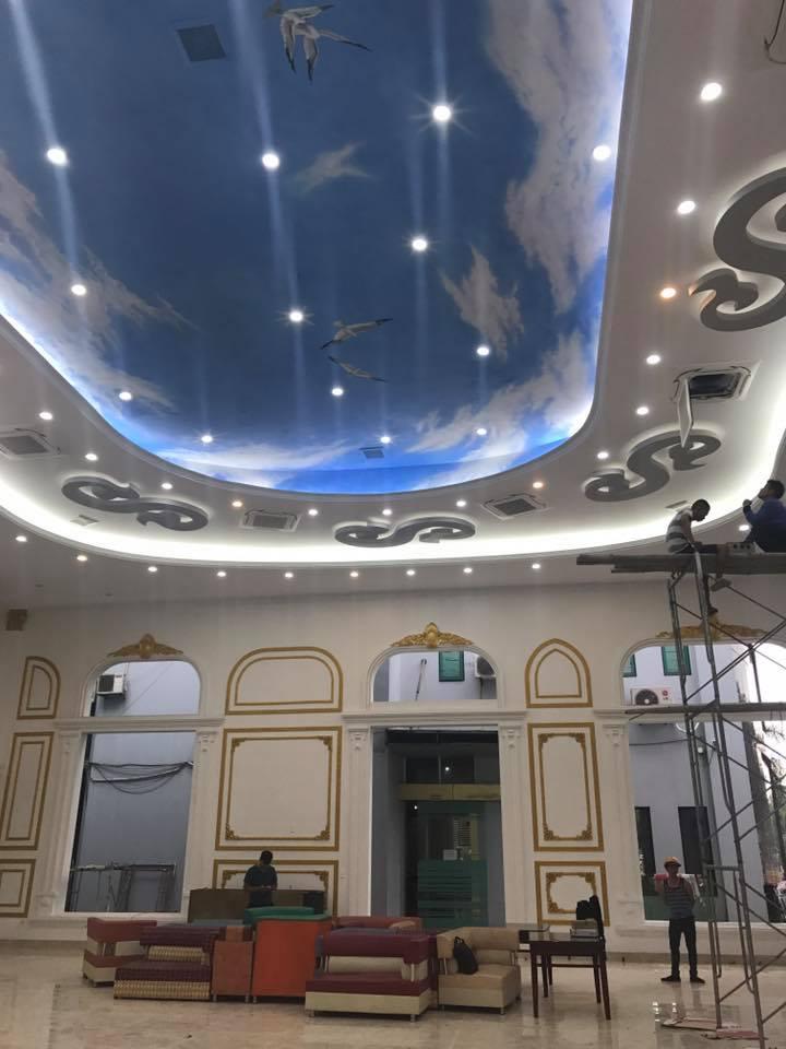 Trần thạch cao vẽ mây trời và sơn tường spec phào pu (13)